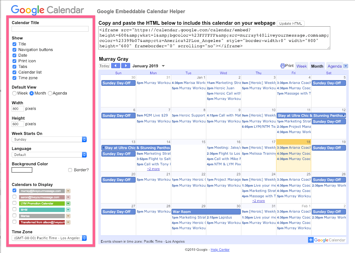 Adding a Google calendar to a page | Heroic Help Center